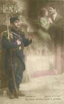 French Soldiers WW1 Rifle Romance Fantasy 1918 RPPC Photo Postcard 20-3875 - $11.87
