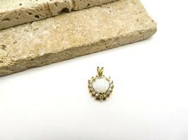 Vintage Gold Over Sterling Silver White Gemstone Opal Heart Pendant E61 - $20.99