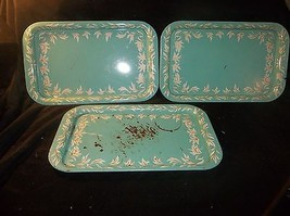 3 VINTAGE METAL LAP TRAYS/SERVING TRAYS TURQUOISE WHITE & GOLD - $106.77