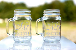 2 of  Wedding Party Laser Engraved Personalized Mr. and Mrs. Mason Jars ... - $22.99