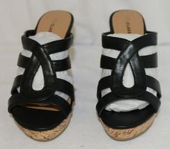 City Classified Layka S Black Sandal Wedge Heel Size 6 And Half image 2