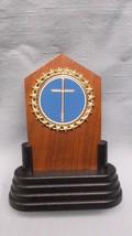 religion cross trophy solid walnut full color metal insert blue award - $4.79