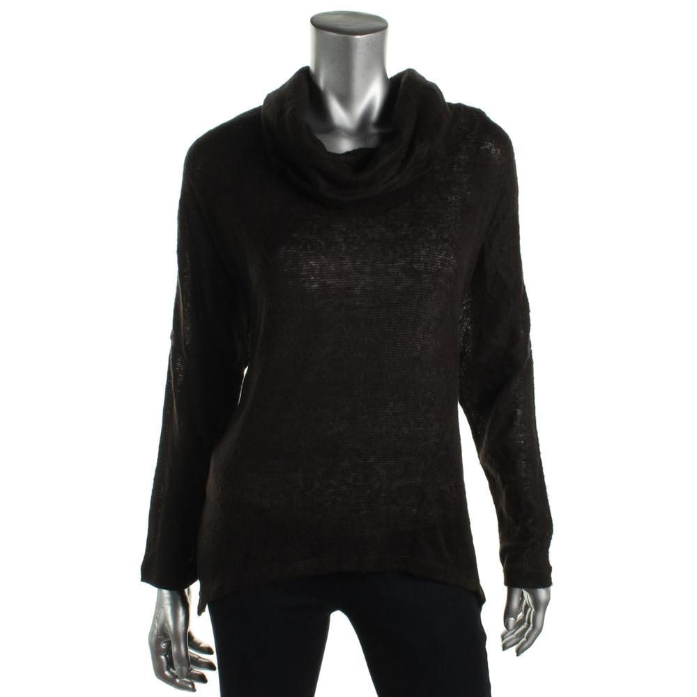 Bar III Women's Long Sleeve Cowl-Neck Knit Top XS X-Small Deep Black $59