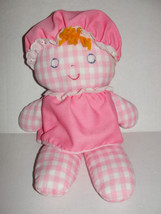 Fisher Price Lolly Dolly 1975 Rattle Doll Pink White Gingham #420 Vintage - $4.99