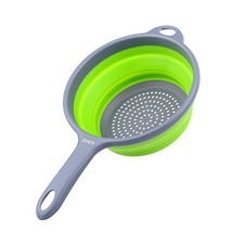 ZOER Kitchen Foldable Silicone Strainers,Collapsible Colanders with Hand... - $15.03