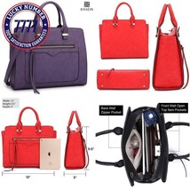 Dasein Women Vegan Leather Handbag Designer Purse Satchel Bag With Cross... - $58.63