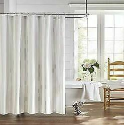Elrene Home Fashions Farmhouse Living Homestead Stripe Fabric Bathroom Shower