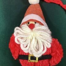 Vintage Yarn Pom Pom Red White Santa Claus Christmas Ornament Holiday Decor - $9.46