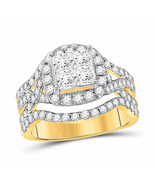 14kt Yellow Gold Princess Diamond Cluster Bridal Wedding Engagement Ring... - £1,807.84 GBP