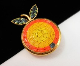 "Vintage ITALY Orange Mosaic Fruit Brooch Pin Gold Plated 1.5"" Artisan Cr... - $22.00"