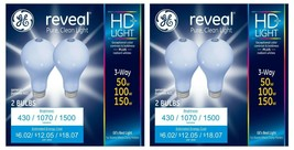 Two 2-Packs Brand New GE Reveal HD 3-way 50W/100W/150W A21 Pure Clean Light Bulb
