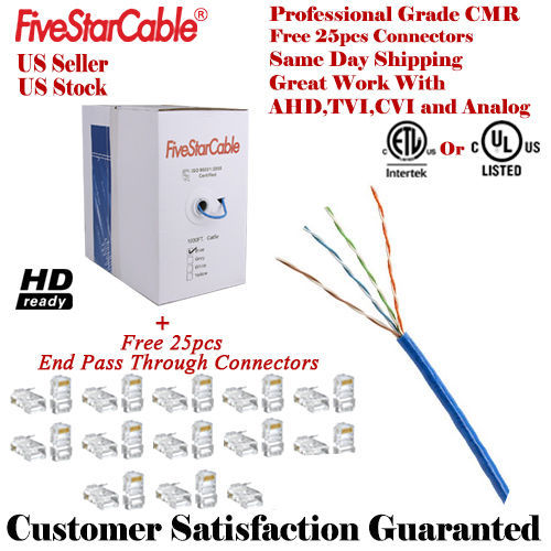 2x NEW CAT5E 1000FT CAT5 UTP CABLE SOLID WIRE NETWORK ETHERNET BULK RJ45 LAN