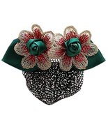Retro Handicrafts Flower Hair Bun Cover Bowtie Hair Snood Net, Green wit... - $23.44