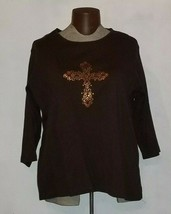 Quacker Factory Women's Pullover 3/4 Sleeve Shirt Plus Size 3X Brown - $19.99