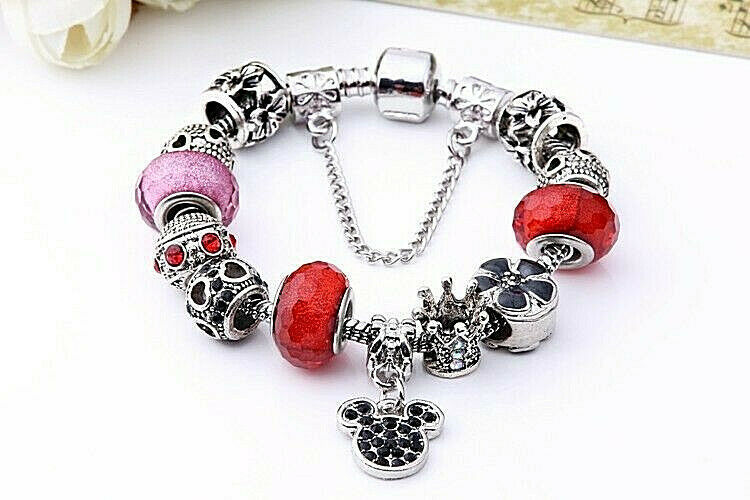 Primary image for Charm Bracelet With Red Beads and Mickey Charm 925 Sterling Silver NEW
