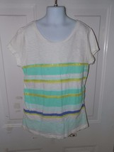Gap Multi-Colored Striped White T-Shirt W/Sequence Size XL (12) Girl's EUC - $15.20