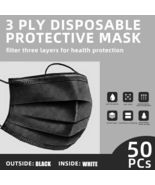 [Black]3-Ply Disposable Face Mask[50 Pcs]Non-Medical Surgical Face Cover... - $7.99