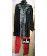 gorgeous eastern touches velvet tunic ladies top.size m/l -loose. lace u... - $36.63