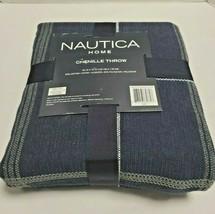 Nautica Chanel Throw Soft Touch Lightweight Navy Striped - $28.70