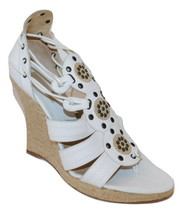 MICHAEL KORS Italy White Leather Lace up Espadilles Wedges Fit 9 - $48.15