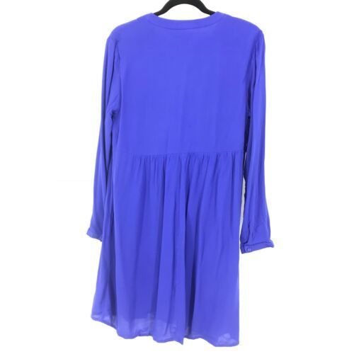 Old Navy Womens Size Medium Long Sleeve Swing Dress Pintucked Front Blue NEW