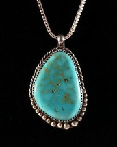 Vintage .925 Sterling Silver D Turquoise Cripple Creek Pendant Necklace 21.3g - $269.99