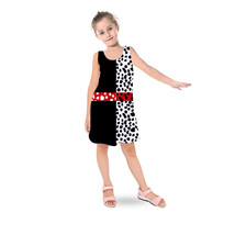 Cruella de Vil Disney Villains Inspired Kids Sleeveless Dress - $30.99+