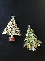 Vintage Lot of 2 Enamel & Rhinestone Branchy Feather Christmas Tree Pin ... - $13.09