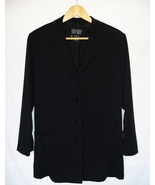 Womens Blazer Jacket Size US 6 EUR 36 ESCADA Wool Navy Blue Button Down - $14.95