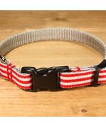 Mod Stripe Red Grosgrain Adjustable Cat Collar / Made in Japan - $22.00