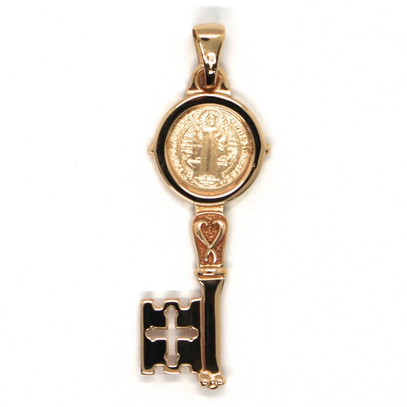 SOLID 18K ROSE GOLD KEY PENDANT, SAINT BENEDICT MEDAL, CROSS, 1.2 INCHES image 4
