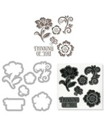 Sizzix Framelits Die Set 6PK with Stamps - Floral by Hero Arts - $20.01