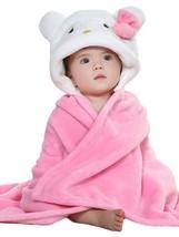 Soft Flannel Pink Kitten Hooded Newborn Baby Blanket Wrap