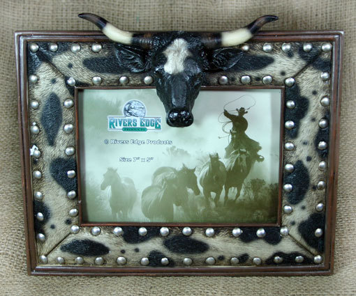 Longhorn With Cowhide Western Country Picture Frame 5x7