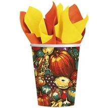 Autumn Turkey 8 Paper Hot Cold 9 oz Cups Fall Thanksgiving - $3.99