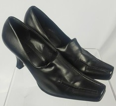 "Franco Sarto Women's Black Loafer 3"" Heels Shoes Soft Faux Leather Size 9.5 - $27.98"