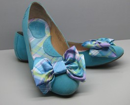 BORN Shoes Woman's 6.5 / 37 Turquoise Suede Fancy BOW Ballet Flats WOW - $18.80