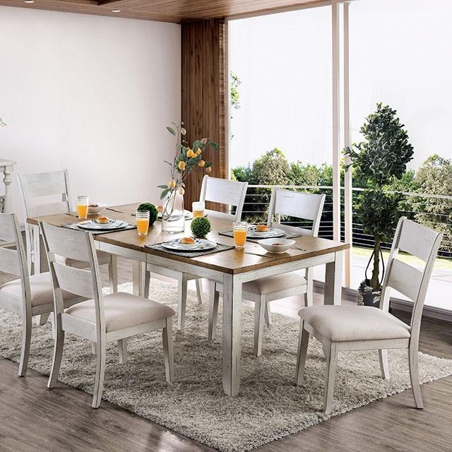 Monarch White Oak 7 Piece Dining Set: New BRIDGID TRANSITIONAL STYLE ANTIQUE WHITE OAK 7 PIECE