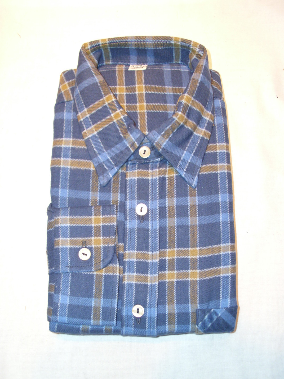 100% Cotton Blue & Yellow Plaid Flannel Button Down Long Sleeve SHIRT - M  39/40