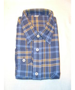 100% Cotton Blue & Yellow Plaid Flannel Button Down Long Sleeve SHIRT - ... - £11.93 GBP
