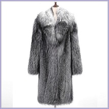Wild Silver Gray Siberian Coyote Wolf Faux Fur Unisex Executive Long Coat Jacket image 3