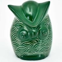 Vaneal Group Hand Carved Kisii Soapstone Green Owl Figurine Handmade in Kenya