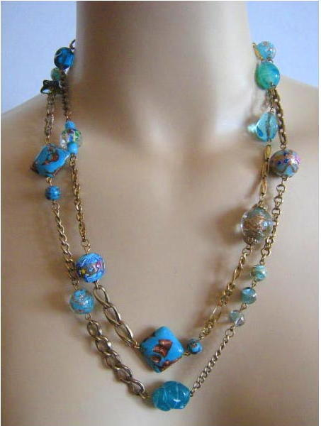 Murano Venetian Glass Wedding Cake Millefiori Aventurine Bead Chain Necklace