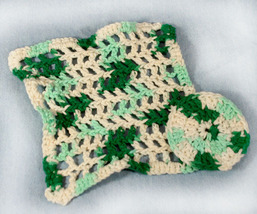 Handmade Crocheted Variegated Green Wash Cloth and Scrubby - $12.00