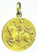 SOLID 18K YELLOW GOLD ROUND MEDAL, SAINT VALENTINE, DIAMETER 17mm - $372.00