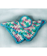 Handmade Crocheted Variegated Turquoise, Green, and Mauve Wash Cloth and... - $10.98