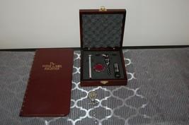 Wine Opener Accessory Kit Wood Case, Label Register, Vintage Corkscrew - $39.29