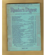 End of Depression Era READER'S DIGEST Magazine, May 1941 - Good Condition. - $4.50