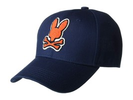 Psycho Bunny Men's Navy Embroidered Strapback Hat Sports Cotton Baseball Cap