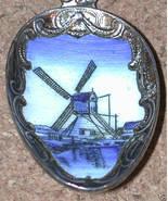 Enamel Souvenir Spoon Czechoslovakia Delft Windmill silver plated - $16.00